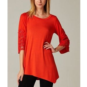 EMERALD 3/4 Sleeve Lace Accent Asymmetrical Tunic